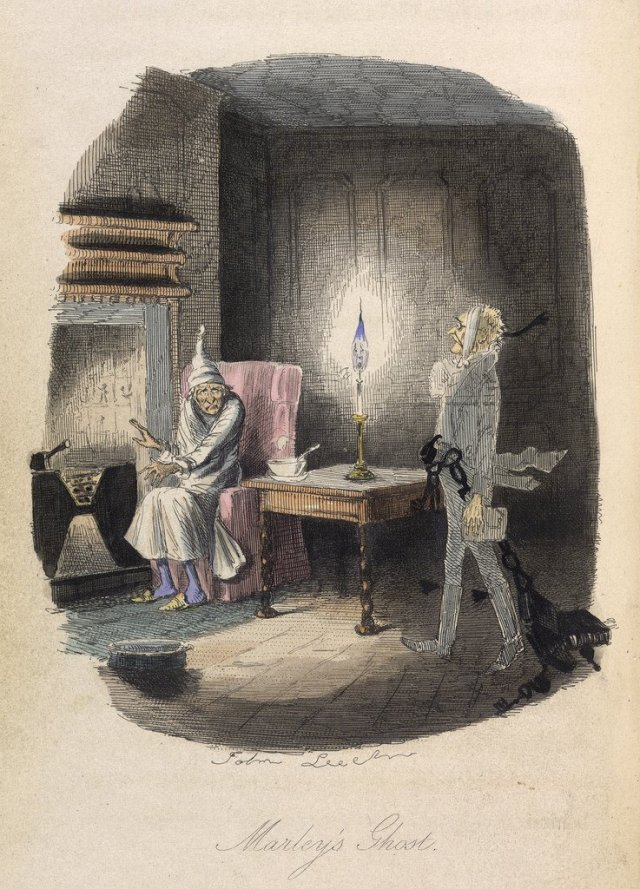 The ghost of Marley visiting Scrooge https://www.flickr.com/photos/britishlibrary/12459019903