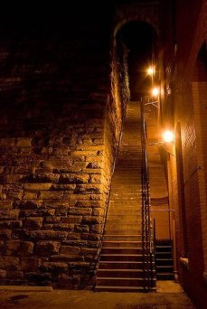 The Exorcist steps at night