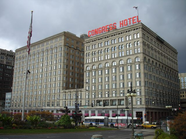 Haunted Hotel - The Congress Plaza Hotel at Michigan Avenue and Congress Parkway in Chicago, USA.