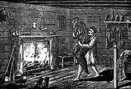 William Porter carrying the Bell spirit in a blanket to try and burn her. https://en.wikipedia.org/wiki/Bell_Witch#/media/File:WmPorterBurnWitch.jpg