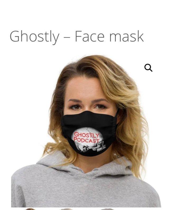 Ghostly Podcast Mask from Ghostly Gear Shop Visit ghostlypodcast.com/shop