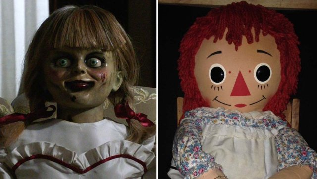 Warner Bros.; Jason R. Butler Annabelle from the movie next to the real Annabelle.  https://www.hollywoodreporter.com/heat-vision/annabelle-comes-home-real-stories-behind-artifacts-1216397