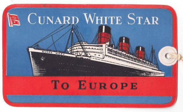 Queen Mary Cunard White Star To Europe Baggage Tag