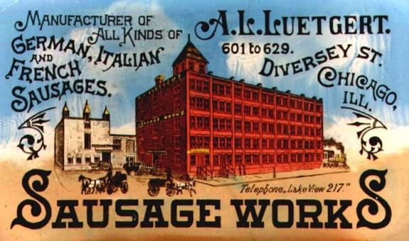 Sausage Works postcard https://chicagology.com/notorious-chicago/sausagevatmurder/