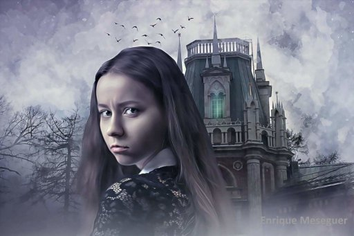 Gothic Girl Haunted House Image