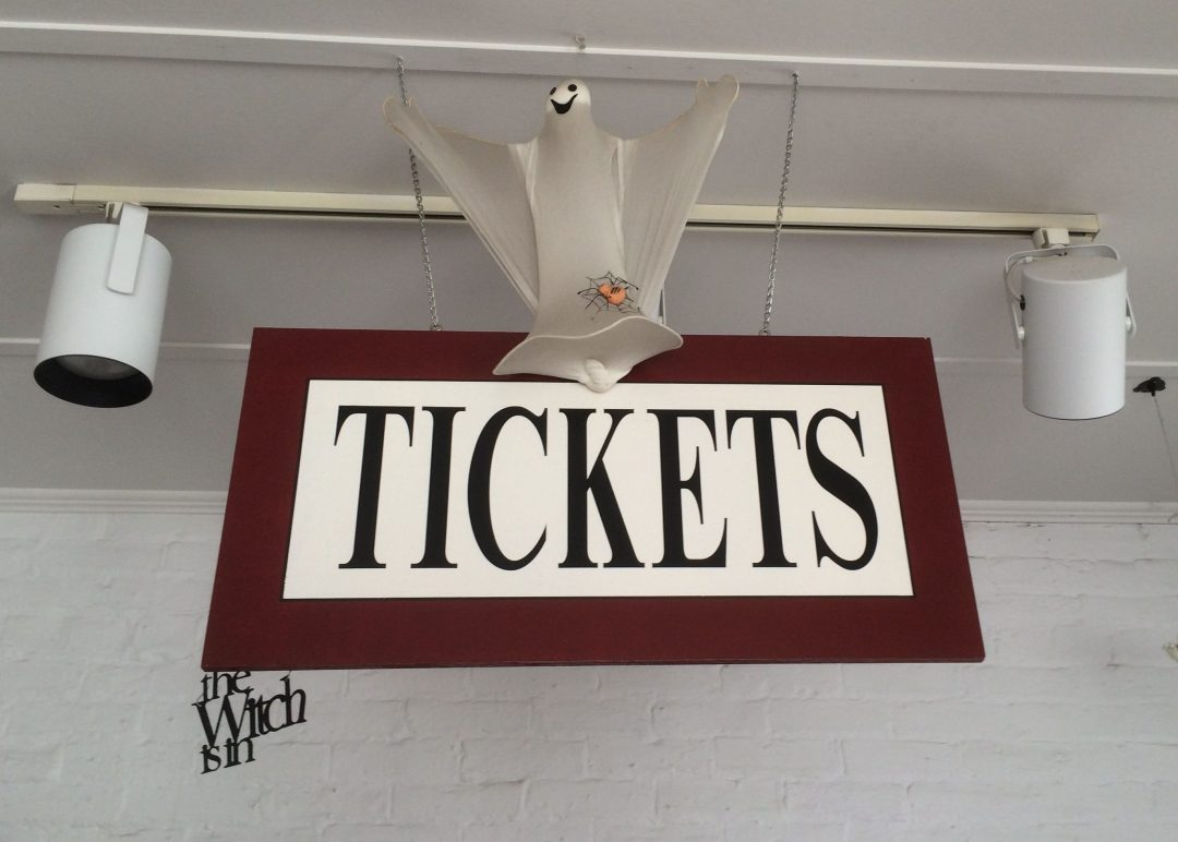 Ghost Tour Ticket sign at the Ghosts of Gettysburg Tours