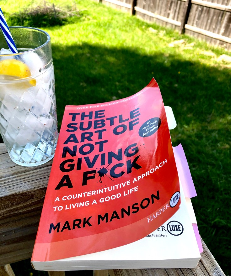 """""""The Subtle Art of Not Giving a F*CK"""" book by Mark Manson."""