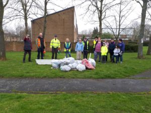 The volunteers show the litter they picked up from Galley Hill