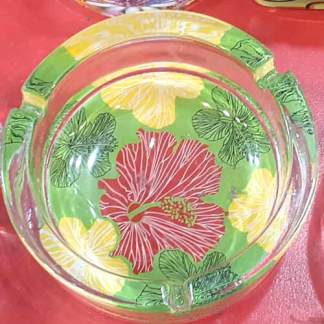 Round crystal ashtray with Multicolour flower