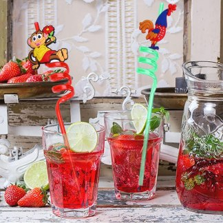 New Fancy Plastic Drinking Straws (pack of 4)
