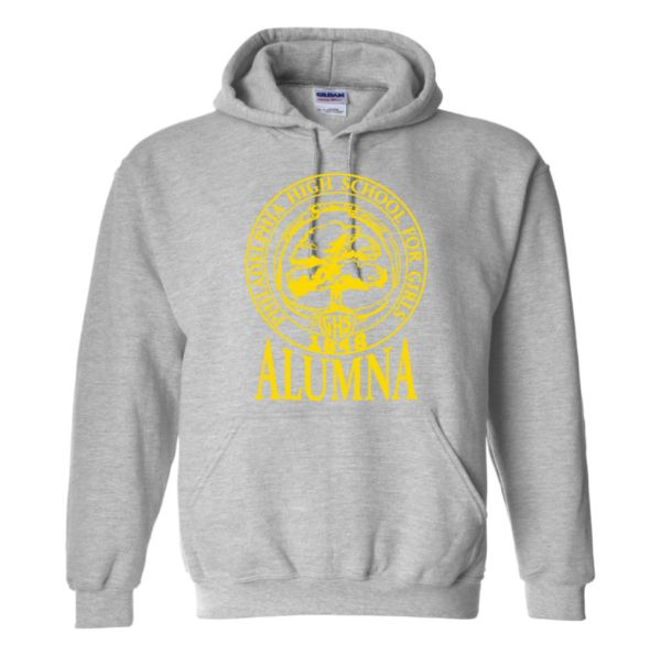 Grey Alumna Hoodie with logo in gold