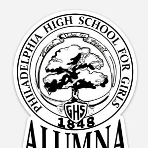GHS Alumna Car Magnet white with black ink