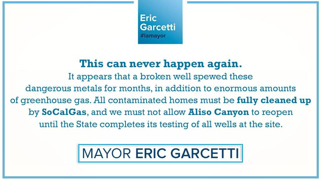 Statement: Mayor Garcetti on the results of County Public Health testing in Porter Ranch.