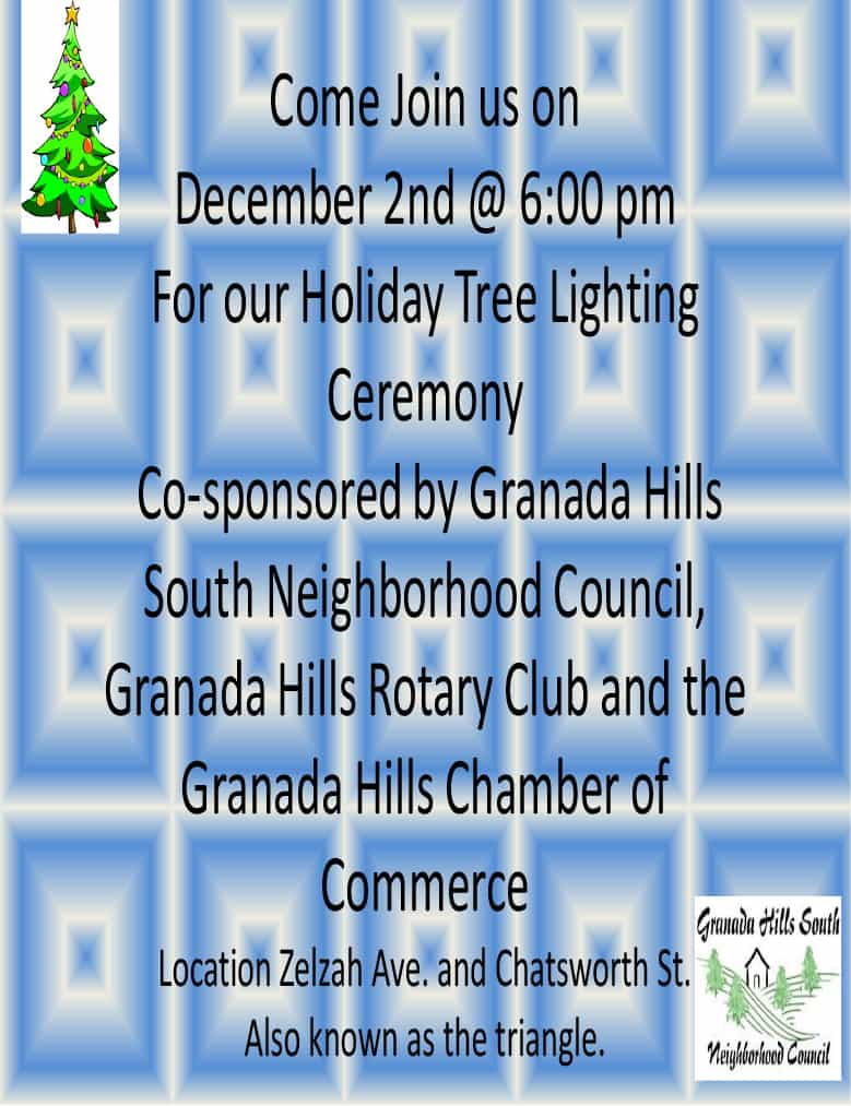 Granada Hills Tree Lighting Celebration – Saturday, December 2 at 6pm