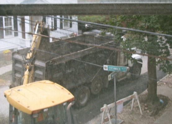dump truck and backhoe out my window on Cucumber Alley - 18Sep09