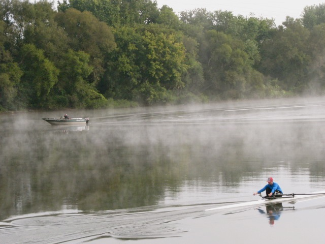 rowing scull and motor boat on the Mohawk River - misty morning along Riverside Park - 21Sep09