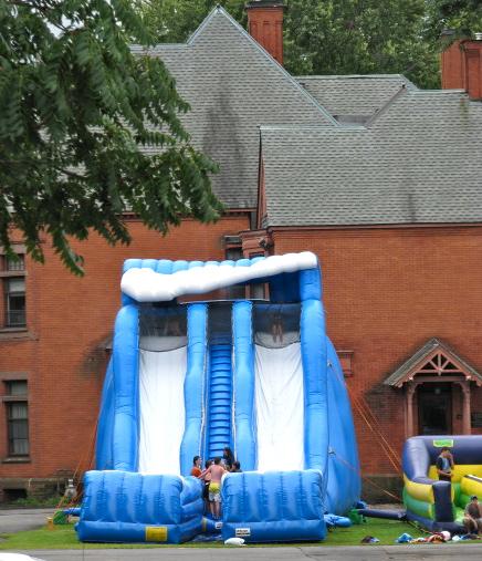 big blue slides, 1st Presbyterian Church parking lot, Schenectady Stockade - 12Sep09