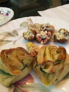 seafood crepes with figs stuffed with Gorgonzola