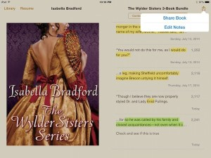 ipad menu of ibooks showing notes and highlights