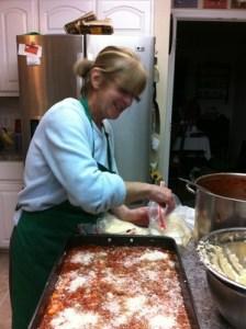 Mikki making lasagna