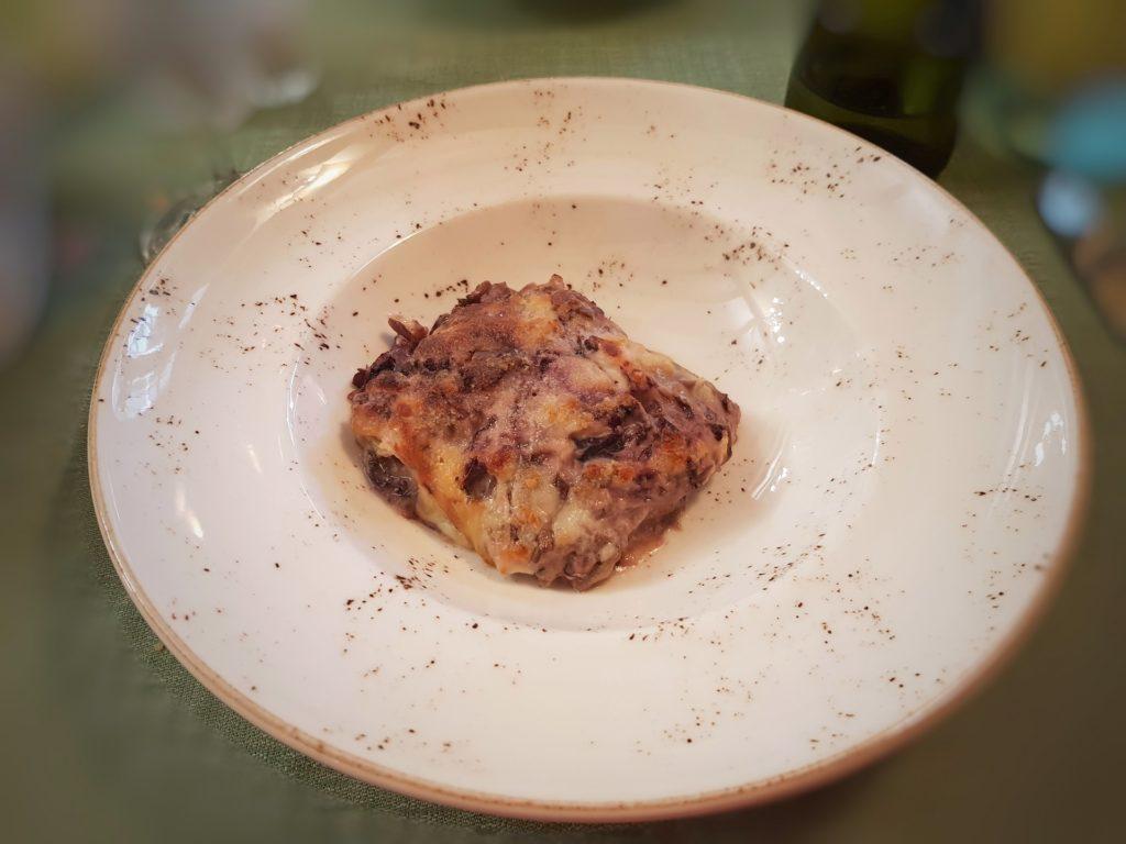 Lasagnette radicchio taleggio e castagne