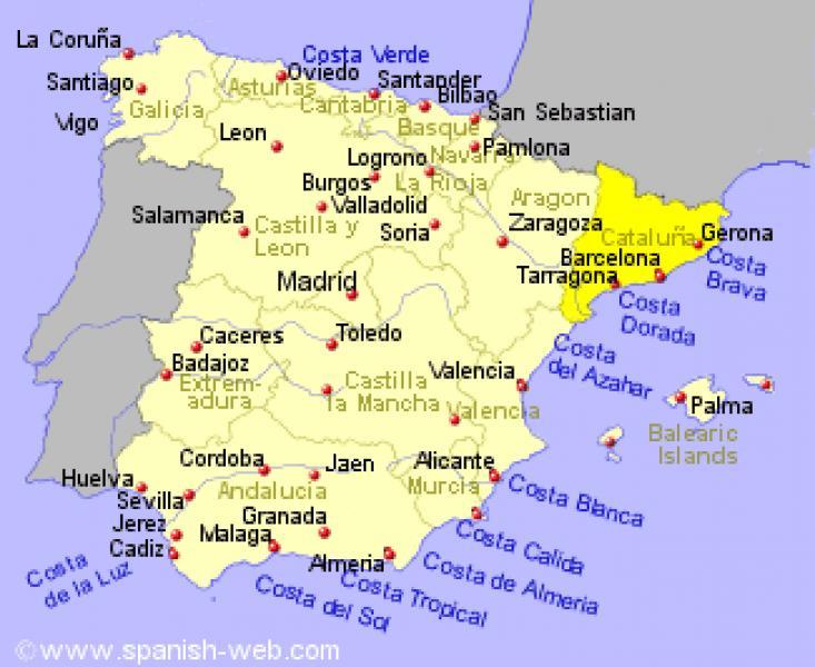 Cartina Catalogna.Spagna Regione Catalogna