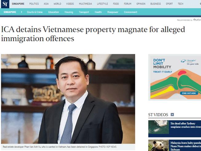 Singapore xác nhận đang tạm giữ ông 'Phan Van Anh Vu'