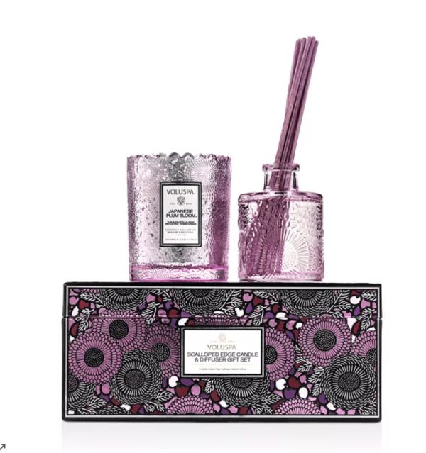 Voluspa Japanese Plum Bloom Scalloped Candle & Diffuser Gift Set. • Voluspa