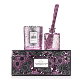Voluspa Japanese Plum Bloom Scalloped Candle & Diffuser Gift Set. • Voluspa