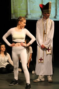 Maeve Martin and Paul Dwyer play Miley Cyrus and Pope Francis in this year's Christmas Panto 'The Adventures of The Wickedly Talented Adele Dazeem' organised by DCU Drama Society