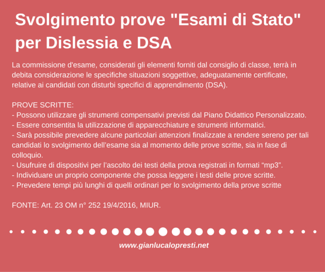 Svolgimento prove -Esami di Stato- per Dislessia e DSA.