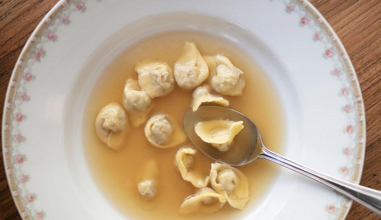 Farro Soup with pancetta, cauliflower & parmesan