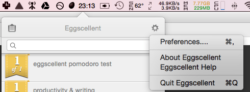 Accessing Eggscellent preferences