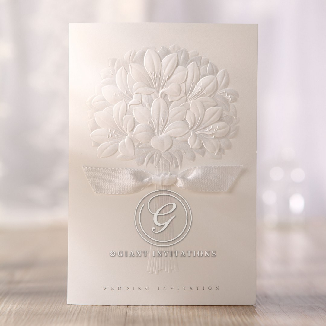 Embossed Bouquet With Bow Amp Silver Stamping On Pearl Paper
