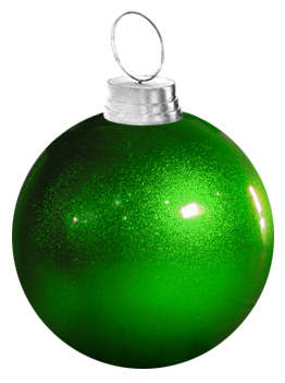 "36"" Large Green Fiberglass Christmas Ornament"