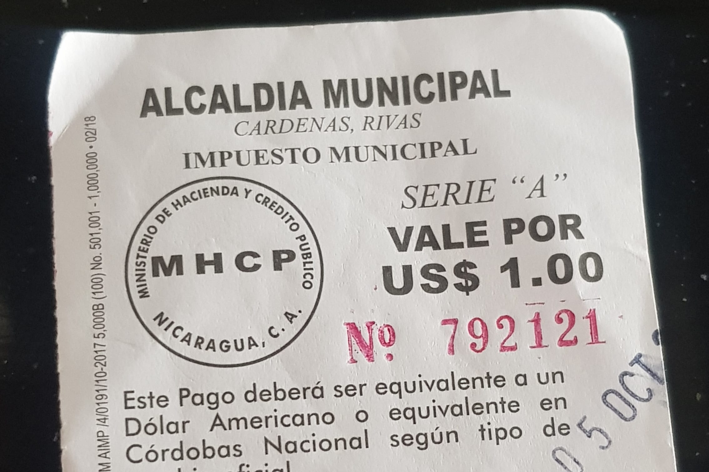 Border Crossing Costa Rica to Nicaragua - Municiapal tax receipt