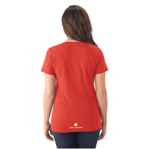 WOMEN'S T-SHIRT V-NECK | GTTC TRI-BLEND - Red - Back