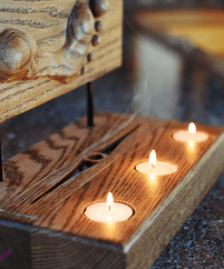 Footprint Candle Incense Holder Close Candles