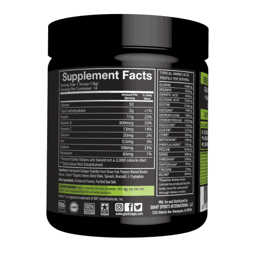 Ingredients and Supp Facts for Bone Broth Plus Greens