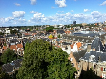 a view of Leiden from the top of Pieterskerk