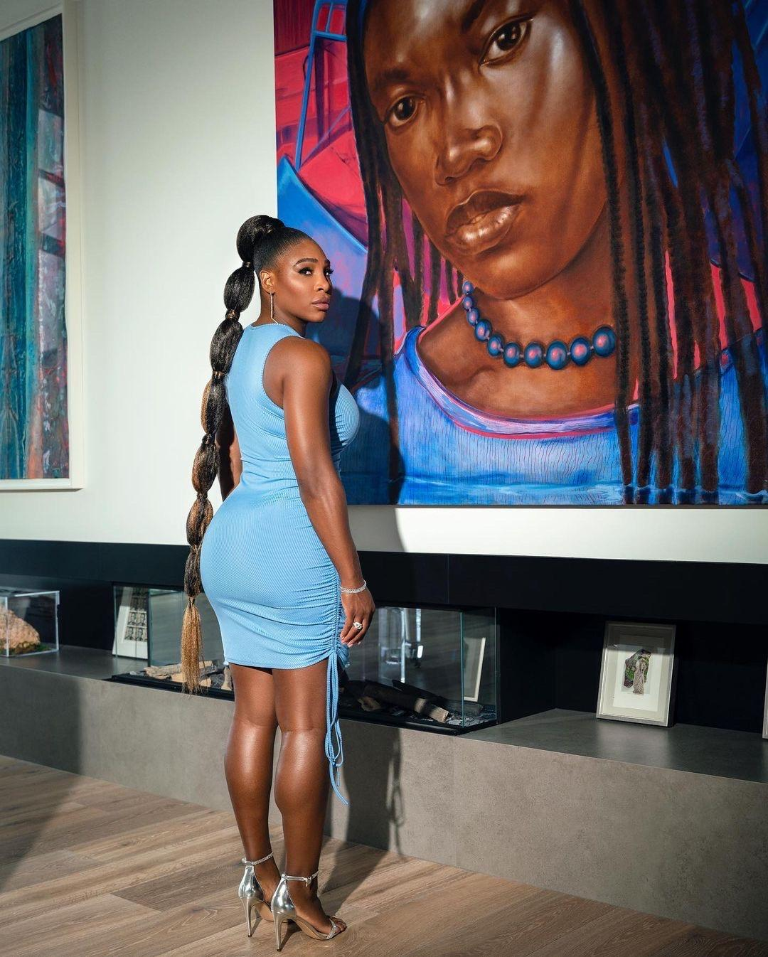 Serena Williams Rocks Blue Ruched Sleeveless Mini Dress From Her Serena Brand While at Home