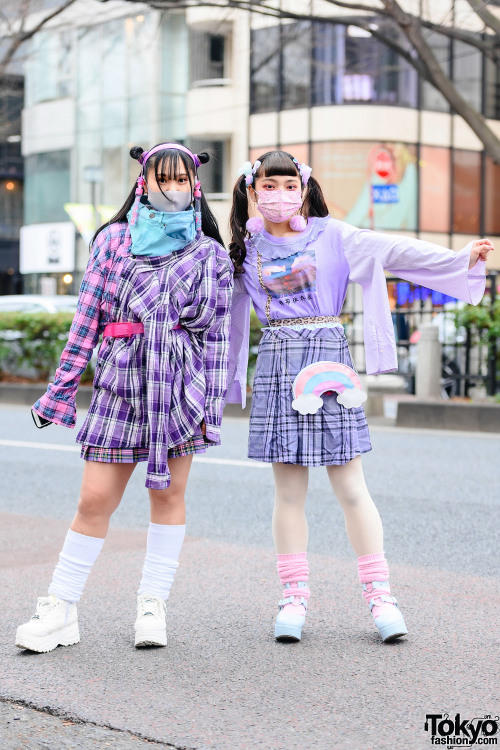 Japanese high school students Moma and Saranrappu on the street…