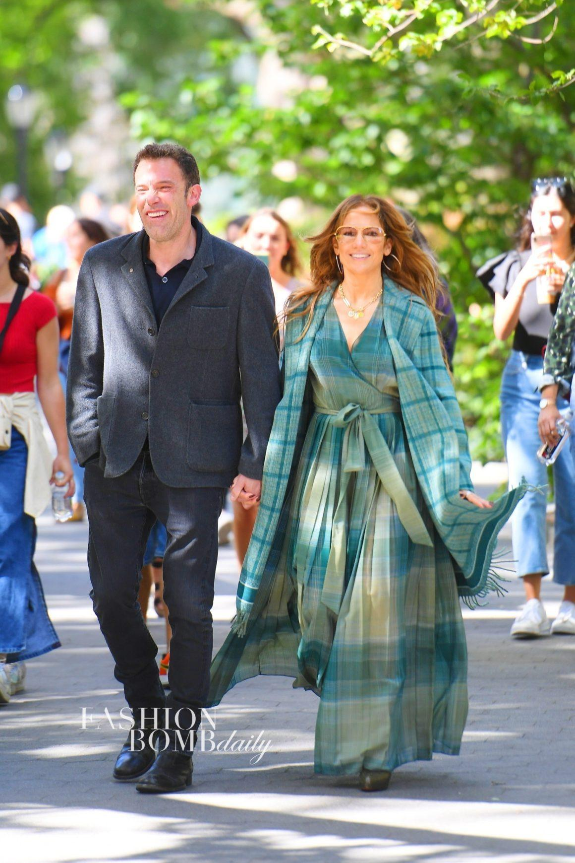 JLo and Ben Affleck Enjoy PDA with Jennifer Lopez in Green Plaid Fringe Fall Dior 2020 Coat and Dress