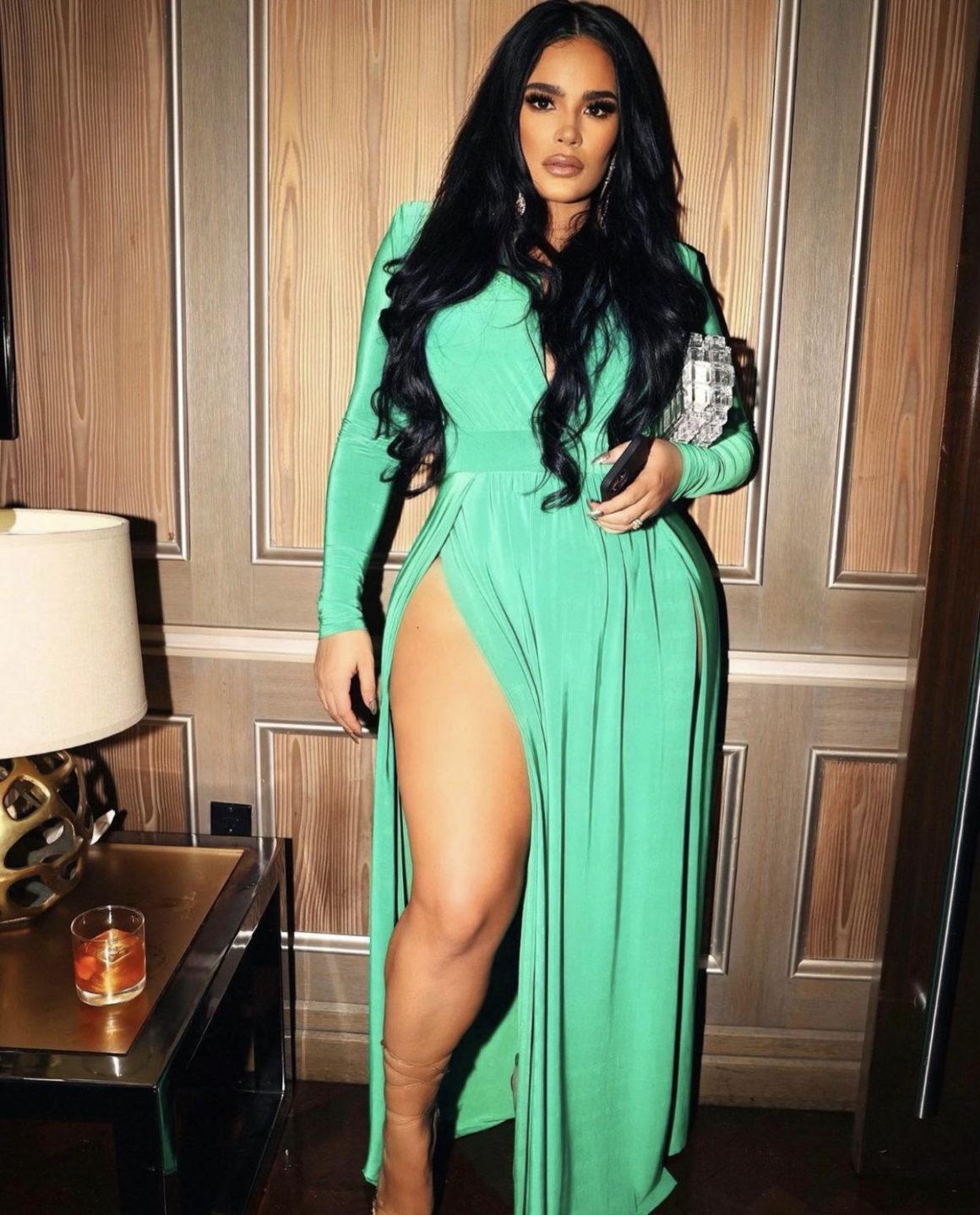 Emily B Rocks Fashion Nova Green V-Neck Maxi Dress to Jay-Z's 40/40 Club Anniversary Party