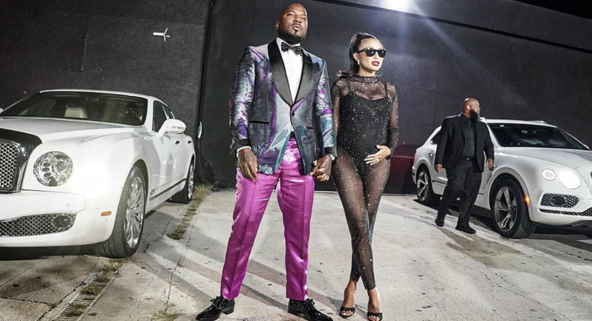 Jeezy Celebrates His Birthday With Jeannie Mai Along With Friends and Family at His Party Wearing Tom Ford Shirt and Jacket Paired With Téo Flor Pink Metallic Pants