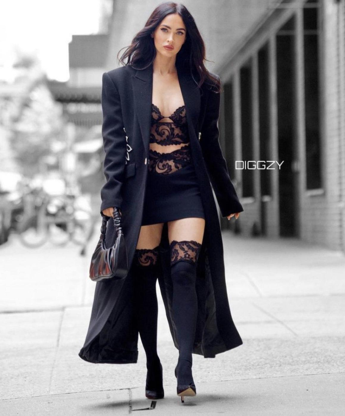Megan Fox Stuns in David Koma Resort 2022 Black Outfit While Leaving a Business Meeting