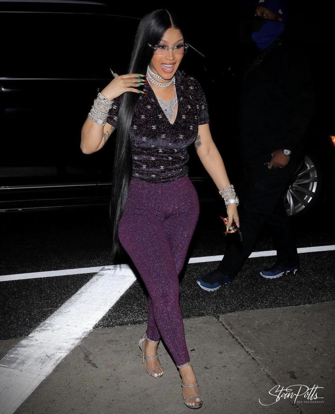Cardi B Heads to Pre-Birthday Dinner at Giorgio Baldi With Offset Wearing Chanel Glitter Top and Leggings