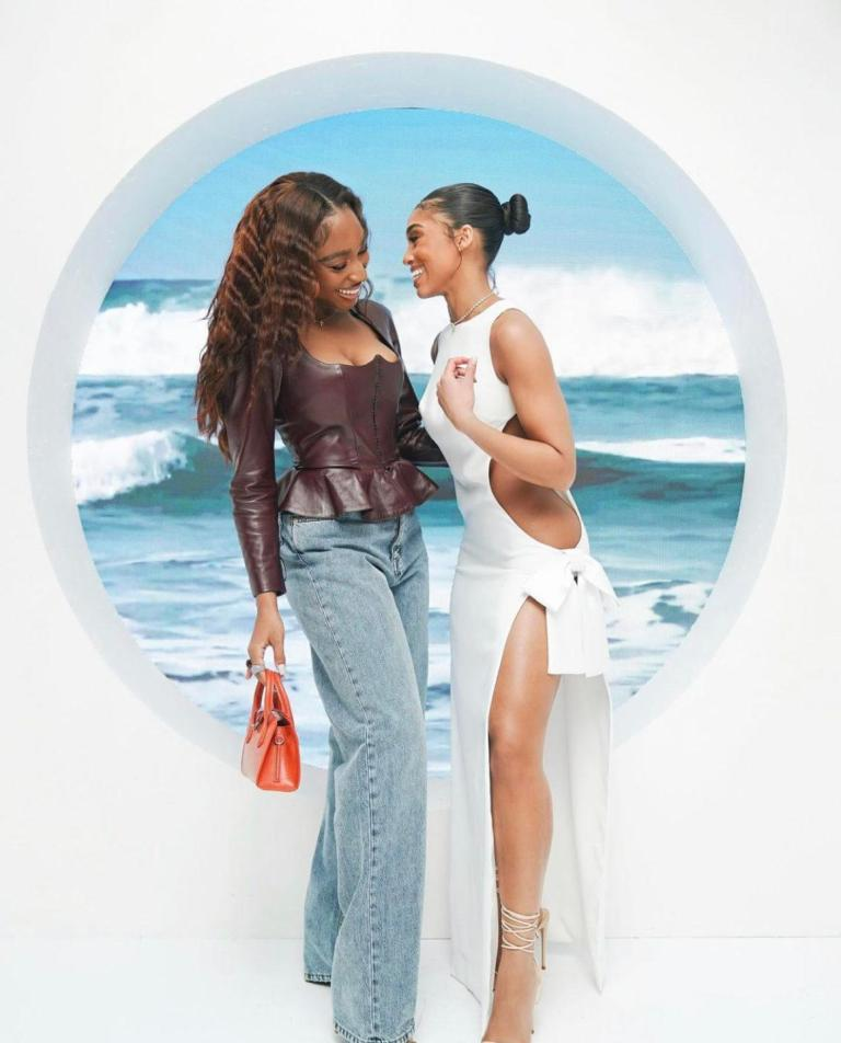 Normani Wears Ulyana Sergeenko Brown Leather Peplum Corset and Jeans to Lori Harvey's SKN by LH Launch Event