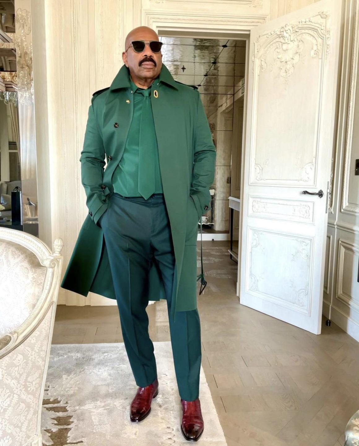 Steve Harvey Wears Green Bottega Veneta Look During Trip to Paris