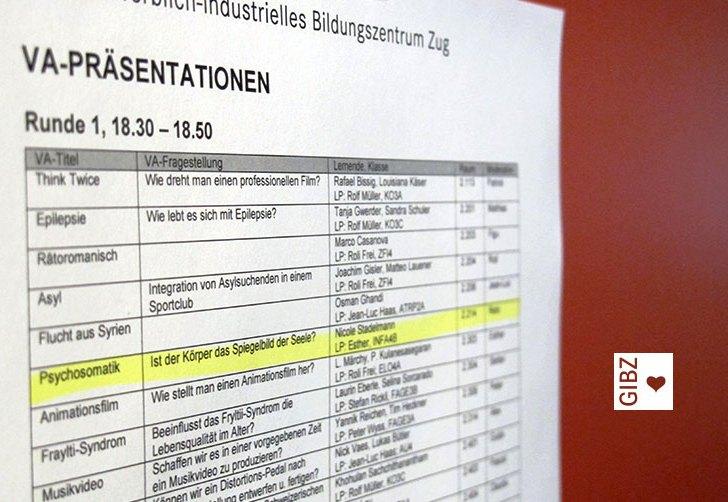 """GIBZ-Bühne frei für die """"Öffentlichen VA-Präsentationen 2018"""""""